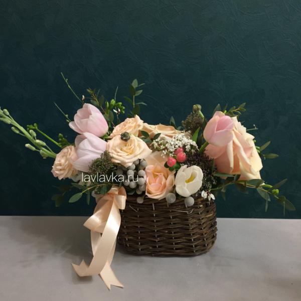 Цветочная композиция №27, букет на 8 марта, цветочная композиция, цветы в корзине, цветы в корзинке, цветы на 8 марта,
