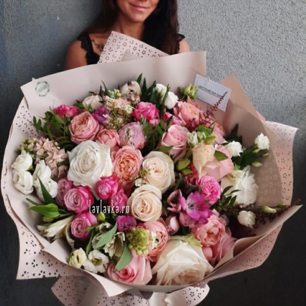 Букет №147, астильба, большой букет, красивый букет, купить большой букет спб, лизиантус, матиола, орнитогалум, пионовидная роза, роза леди бомбастик, розы, сборный букет, фрезия,