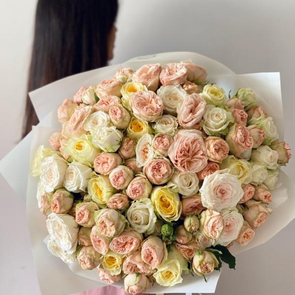 Букет №79, авторский букет, Букет из пионовидных роз, букет с пионовидной розой, букет с пионовидными розами, Моно букет из пионовидных роз, нежный букет, пионовидные розы, пудровый букет, стильный букет, шикарный букет,