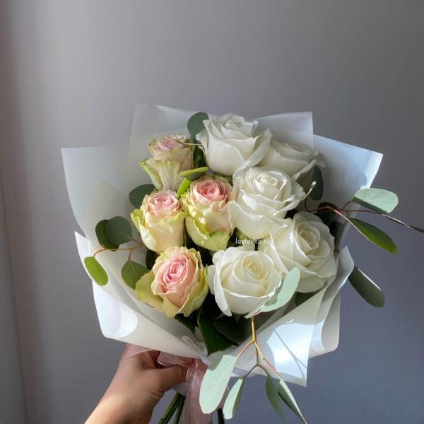 Букет №66, Букет из 9 роз, букет из роз, пастельный букет, пудровый букет, розовые розы, розовый букет,